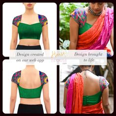 Design to reality- A pretty sweetheart neck blouse with embroidered threadwork… Choli Blouse Design, Saree Blouse Neck Designs, Fancy Blouse Designs, Designer Blouses Online, Stylish Blouse Design, Designer Blouse Patterns, Blouse Models, Couture, Indian Blouse