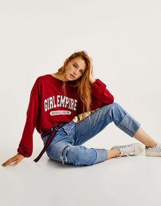 Pull&Bear - mulher - vestuário - sweatshirts - sweatshirt oversize texto - vermelho - 09593325-I2017