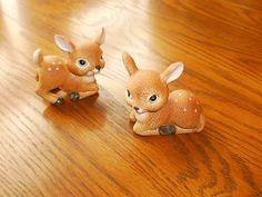 Porcelain Baby Deer Fawn Figurines Set of 2
