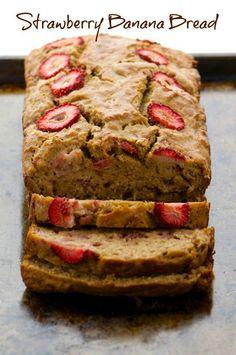 Strawberry Banana Bread, our favorite vegan sweet bread!