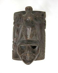 Hand-Carved Belize God Figure Mask by 13thhourvintageshop on Etsy