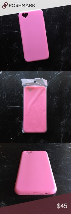 Pink Heart Camera Cutout iPhone 6/6S Soft Case This luxurious pink soft case features an adorable heart cutout around the camera, cutouts for easy access to buttons and ports, and an 1/8 inch bumper to protect your phone from damage and accidental drops -- don't worry, we all do it.  Perfect as a gift or just to gift yourself.  📸 Item snapshot: 〰New in Packaging✨ 〰Fits iPhone 6/6S📱✨ 〰Soft Case✨ 〰Camera Heart Cutout✨ 〰Smooth, matte finish✨ 〰Boutique item, no brand✨ JenniferPtk Accessories…