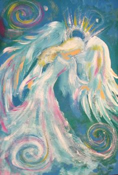 Sarah Pauline's Modern Impressionistic Painted Angel so creative and whimsical Angel Artwork, Angel Paintings, Arte Country, I Believe In Angels, Prophetic Art, Angel Pictures, Angels Among Us, Angels In Heaven, Impressionist Paintings