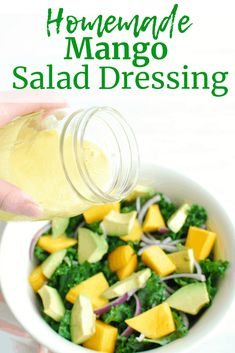Sweet & Tangy Mango Salad Dressing - Snacking in Sneakers - Need a healthy homemade salad dressing recipe? Try this easy mango salad dressing, made with just 6 - Mango Dressing, Dressing For Fruit Salad, Salad Dressing Recipes, Mango Vinaigrette Dressing Recipe, Salad Dressings, Vegetarian Salad Recipes, Fruit Recipes, Healthy Recipes, Summer Recipes
