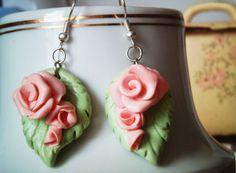 fimo-rose earrings 2 by minako-sav on DeviantArt