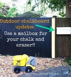 Have an outdoor chalkboard? Use a mailbox to store your chalk and the eraser!