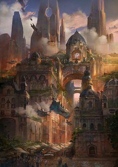Osmadth Bancur City Main Street by flaviobolla on deviantART Fantasy landscape Fantasy concept art Fantasy city