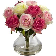 Faux Rose Arrangement in Glass Vase