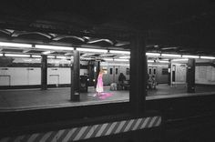 Without a pumpkin coach, Cinderella is forced to take the subway. | This Artist Puts Disney Characters Into Real-Life Situations