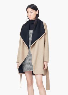 Waterfall wool-blend coat - Coats for Women | MANGO