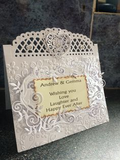Wedding card using tonic dies