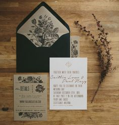 black white kraft paper and gold wedding invitation | rustic with a modern vintage spin | Al Fresco Scottsdale Wedding + Stunning Two-Piece Dress