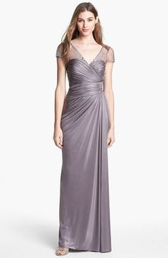 Love this....mom or jenny?....  Adrianna Papell  Embellished Metallic Jersey Gown available at #Nordstrom