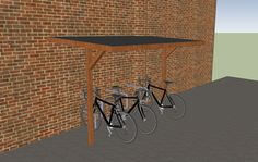 This is the simplest with open sides. Not as weather proof but cheap and easy Custom Woodworking, Woodworking Projects Plans, Bicycle Wall Mount, Bike Shelter, Vertical Bike, Wooden Bicycle, Bicycle Storage, Bike Shed, Lean To