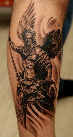 Тату Боевой ангел с цепью и копьем