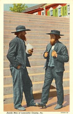 People - Amish Men in Lancaster Co    Amish Men of Lancaster County, Pa. (Pennsylvania)    postmarked in 1950 with 1 cent 'George Washington' stamp