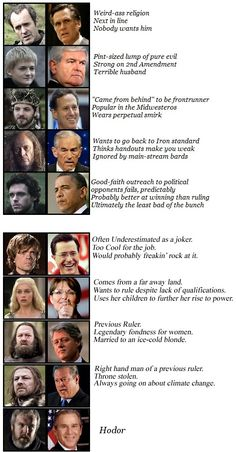 okay the top is totally crap (there is no way that Obama is cool and good enough to be Robb, and Jon is actually my favorite so) but the bottom is great!