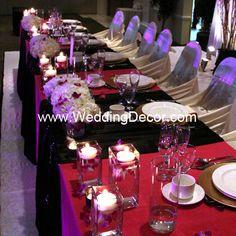 Wedding Decor   Head Table - fuchsia linens, black runners, hydrangea and fuchsia dendrobium orchids in glass vases