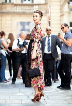 Fall 2012 Couture Street Style: More pretty from Ulyana Sergeenko, this time in a classic floral.