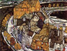 "artist-schiele: ""Island Town (Krumau Town Crescent), 1915, Egon Schiele Size: 110x140 cm Medium: oil on canvas"""