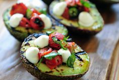 Grilled avocado with blistered tomato salsa