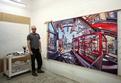 Nathan Walsh's Unusual Urban Landscapes Painted Atop Precise Graphite Sketches