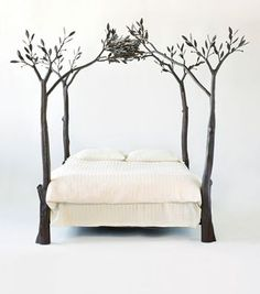 Tree Bed by Shawn Lovell Metalworks. This would be so completely mine.if I had the room. Nest Bed, Bed Frame, Home, Canopy Bed, Cool Beds, Inspired Homes, Bed, Tree Bed, Iron Bed
