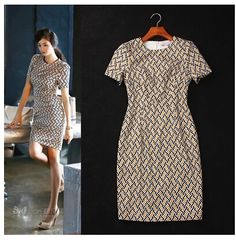 Aliexpress.com : Buy 2014 Summer Europe Style Fashion Women's Elegant OL Work Wear Geometric Print Casual Daily Slim Fitted Straight Pencil Dress XXL from Reliable dress braces suppliers on Europe Designer Runway Fashion Collections