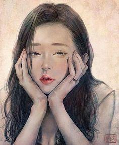 Kai Fine Art is an art website, shows painting and illustration works all over the world. Digital Portrait, Portrait Art, Art Asiatique, Face Sketch, Illustrators On Instagram, Sketch Painting, Watercolor Portraits, Art Sketchbook, Aesthetic Art