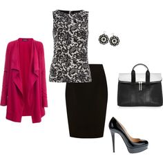 Classic Look with a touch of Pink, created by jendahlin on Polyvore