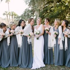 Rustic Winter Wedding In Charleston At Boone Hall Plantation With Smoke Grey Bridesmaids Dresseercury