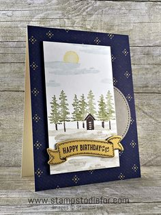 SS025 Hand Stamped Birthday Card For Men Using The Waterfront Stamp Set By Stampin Up