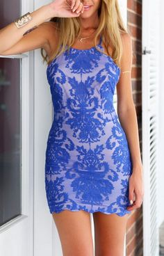 Blue Spaghetti Strap Backless Lace Embroidered Bodycon Dress 27.00