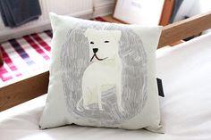 White dog pillow