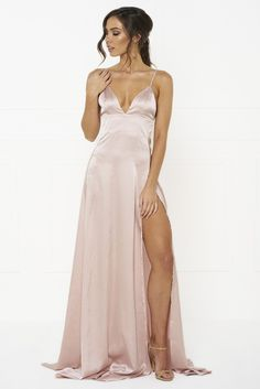 Honey Couture - Tanya Pink Satin Style Formal Gown Dress