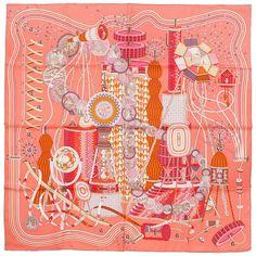 NIB Auth Hermes Paris LE LABORATOIRE DU TEMPS Silk Scarf Foulard P. MARIE 90cm