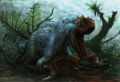 "Yutyrannus huali defends its kill | artist unknown | ""Feathered Dinosaurs Are Scary as Hell"""