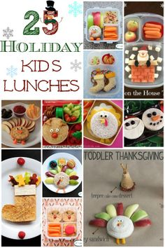 25 Holiday Kids Lunches www.lifewiththecr… 25 Holiday Kids Lunches www. Lunch Snacks, Lunch Box, Kid Snacks, Lunch Time, Kids Lunch For School, School Lunches, Toddler Lunches, Kid Lunches, Healthy Lunches