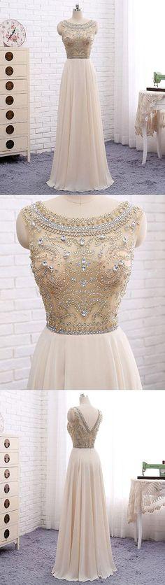 Champagne round neck chiffon beads long prom dress, champagne evening dress