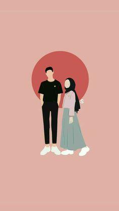 Cute Couple Drawings, Cute Couple Cartoon, Cute Couple Art, Cute Love Cartoons, Anime Couples Drawings, Girl Cartoon, Cute Drawings, Cover Wattpad, Moslem