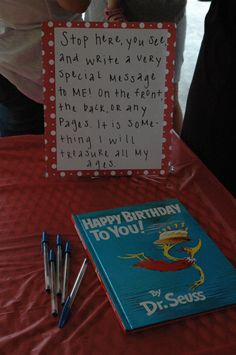 Dr. Suess Party; book gift. Definitely doing this for P & G. Act surprised when you see it ;)