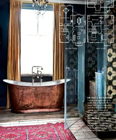 copper bath tub, wood plank floors, dark painted walls, old turkish rug, eclectic bathroom, old world.