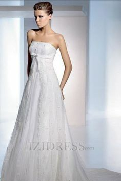 A-Line Empire Strapless Square Tulle Lace Beach Wedding Dresses