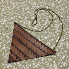 One of a kind - Hand stamped leather necklace on brass chain. Chain length: Leather triangle dimensions: x x Leather Necklace, Leather Jewelry, Leather Pieces, Brass Chain, Hand Stamped, Aztec, Triangle, Jewellery