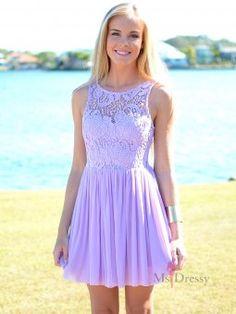Bateau Short Lilac Chiffon Dress With Lace