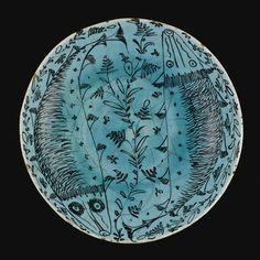 A Turquoise-Glazed Kubachi Dish, Persia, 17th Century