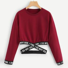 Funnygals - Women's Letter Print Color Block Long Sleeve Crop Top Hoodies Pullover 2019 Newest Short Sweatshirt Red - Funnygals – Women's Letter Print Color Block Long Sleeve Crop Top Hoodies Pullover 2019 Newest Short Sweatshirt Source by - Girls Fashion Clothes, Teen Fashion Outfits, Outfits For Teens, Girl Outfits, Crop Tops For Kids, Cute Crop Tops, Teen Crop Tops, Cropped Tops, Crop Top Outfits