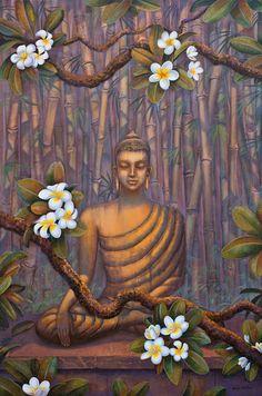 Nature Of Buddha Canvas Print / Canvas Art by Yuliya Glavnaya Lotus Buddha, Art Buddha, Buddha Artwork, Buddha Canvas, Buddha Buddhism, Buddhist Art, Pintura Zen, Budha Painting, Modern Painting