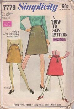 MOMSPatterns Vintage Sewing Patterns - Simplicity 7779 Vintage 60's Sewing Pattern CLASSIC Easy How To Sew A-Line Short Mini Skirt Set Size 9-10