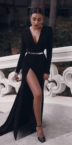 33 Beautiful Black Wedding Dresses That Will Strike Your Fancy ❤ black wedding dresses sheath with long sleevess deep v neckline simple said mhamad ❤ #weddingdresses #weddingoutfit #bridaloutfit #weddinggown #women's style